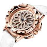 Women Casual Rose Gold Flower Dial Leather Strap Watch - FashionzR4U
