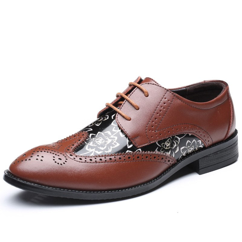 Men Brogue Dress Oxford Business Leather Brown Shoes