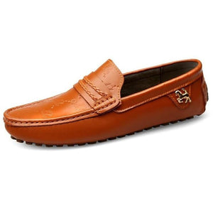 Men Casual Breathable Leather Slip On Flats Shoes