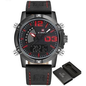 Men Quartz Analog LED Leather Military Waterproof Watch - FashionzR4U