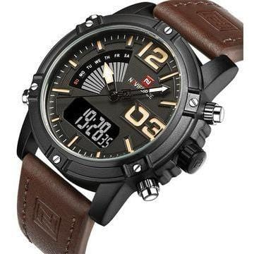Men Analog Led Leather Military Watch