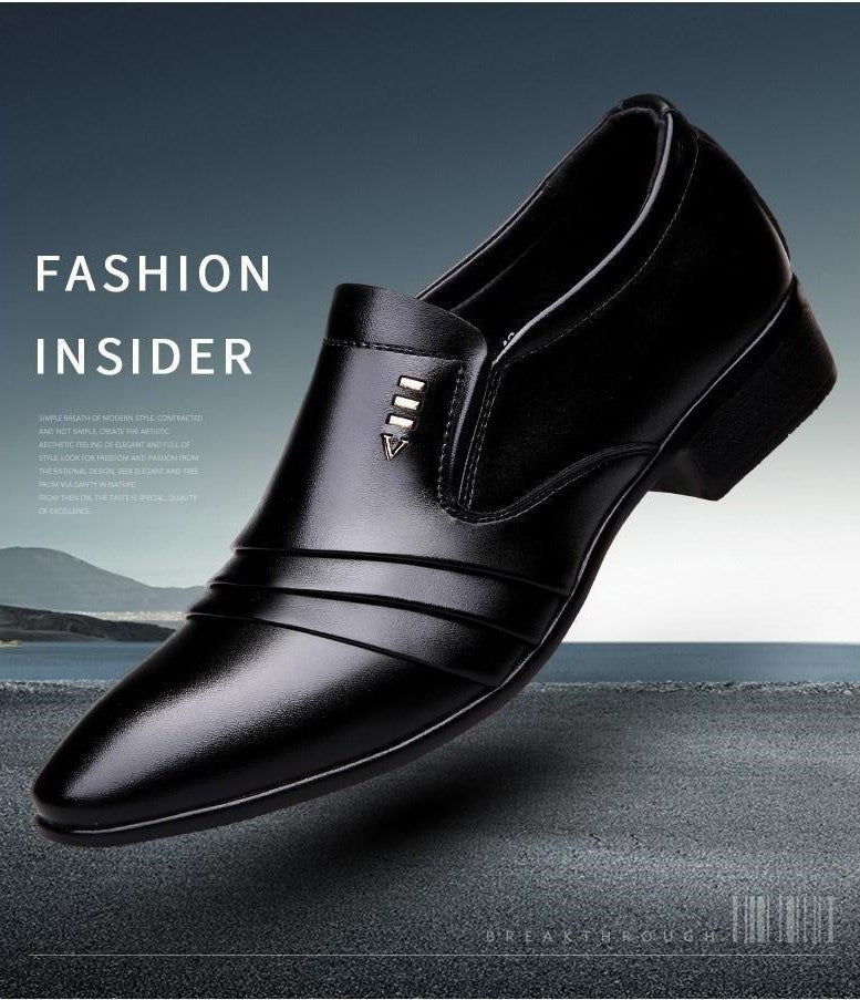 Men Leather Business Dress Black Shoes - FashionzR4U