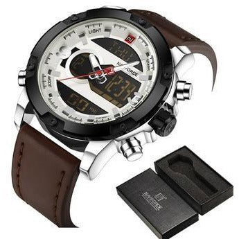 Men Sports Leather Military Watch
