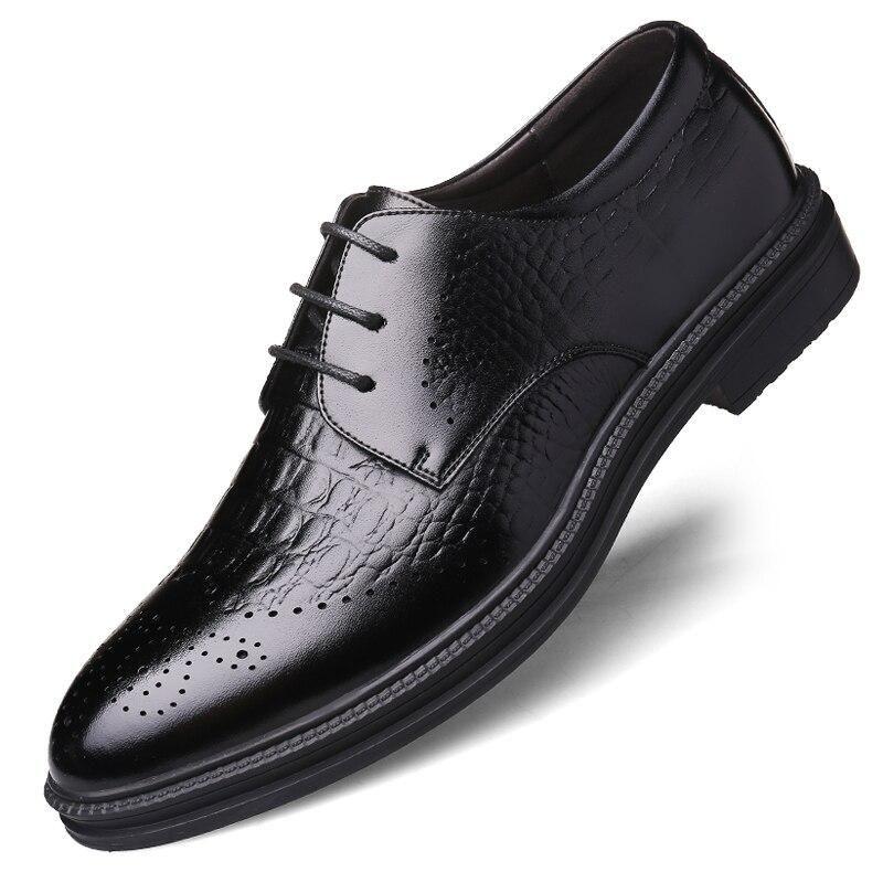 Men Misalwa Black Crocodile Pattern Business Leather Shoes