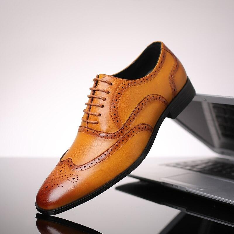 Men Misalwa Brand Wingtip Lace-Up Classic Dress Leather Shoes