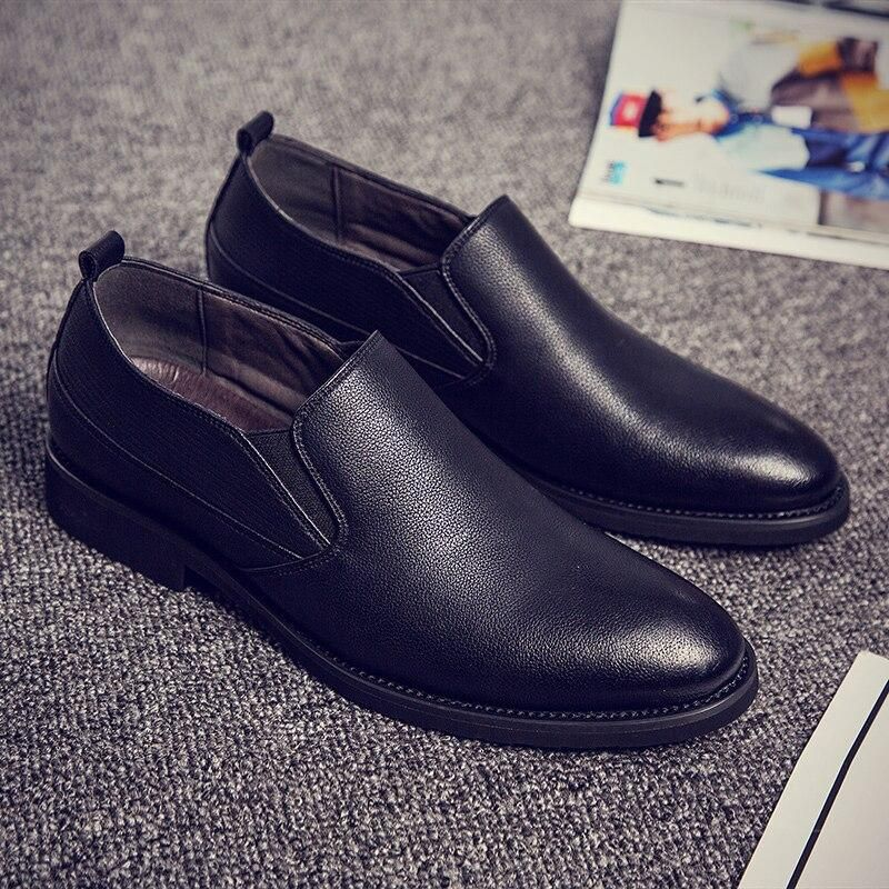 Men Misalwa Brand Casual Slip On Elastic Band Business Solid Leather Shoes