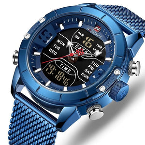 Men NAVIFORCE Mesh 30m Waterproof LED Quartz Military Sport Watch - FashionzR4U