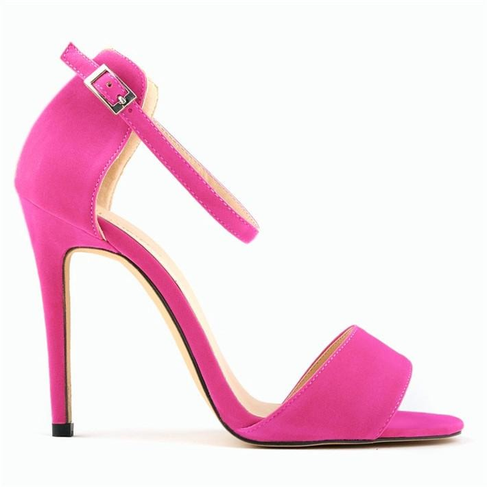 Women Style Fashion Solid Flock Skin Peep Toe High Heels Sandals