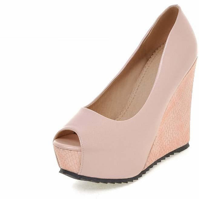 Women Peep Toe Wedge Shoes - FashionzR4U