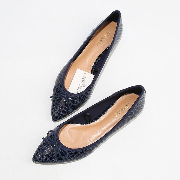 Women Vintage Casual Leather Pointed Toe Flats Shoe - FashionzR4U