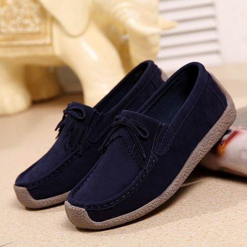 Women Suede Leather Slip On Shoes - FashionzR4U