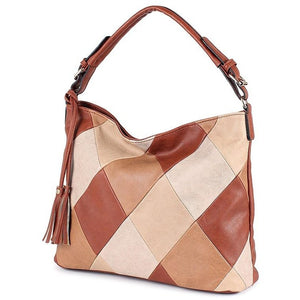 Ladies Patchwork Designer Soft Leather Crossbody Handbag