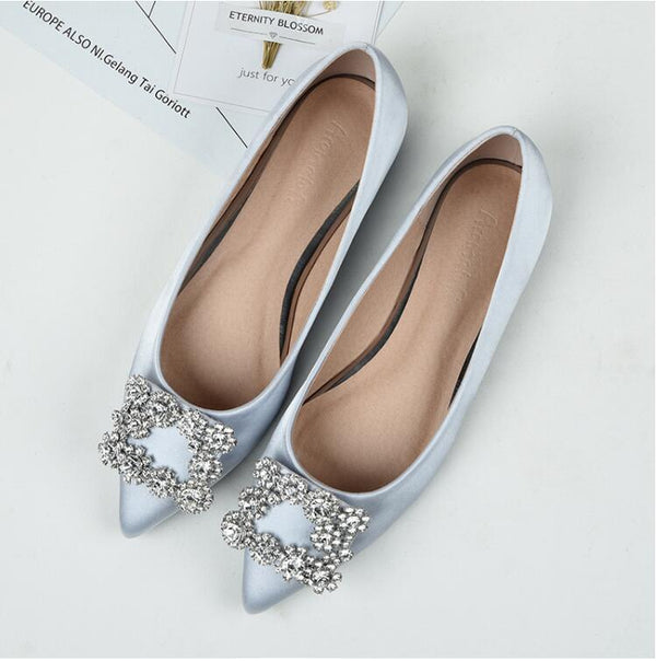 Women Crystal Stones Design Pointed Toe Leather Flat Shoes - FashionzR4U
