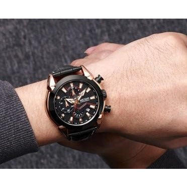 Men Leather Chronograph Military Sport Watch