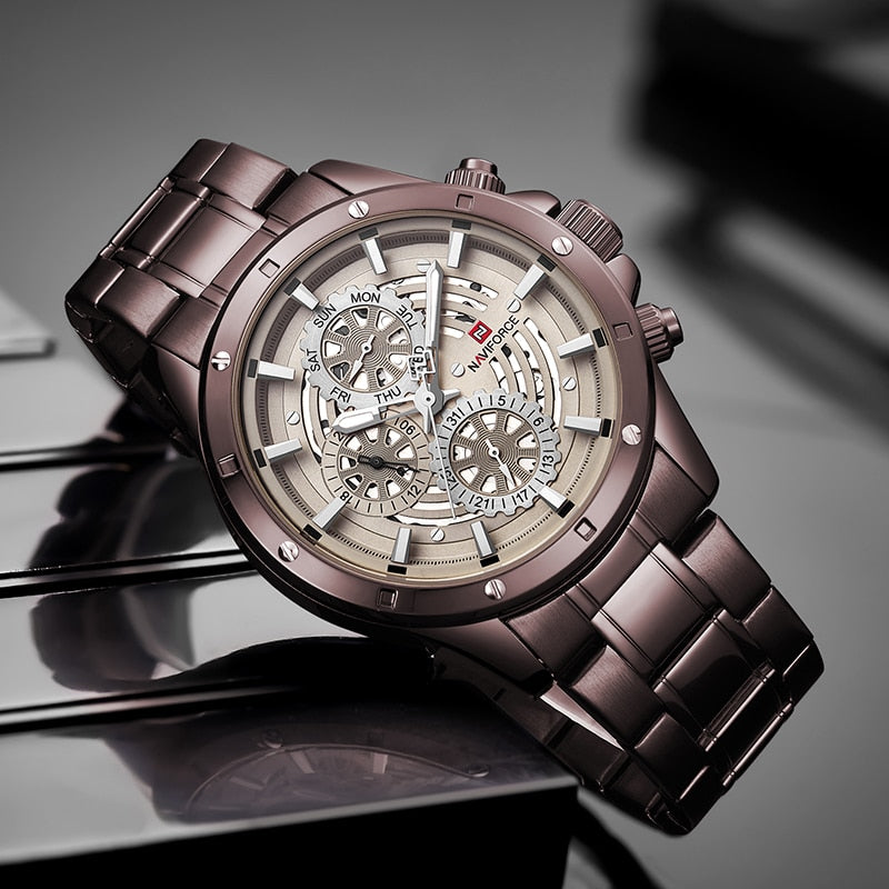 Men Steel Automatic date Luxury Sports Quartz Watch