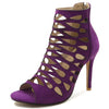 Women Side Zip High Heel Ankle Shoes