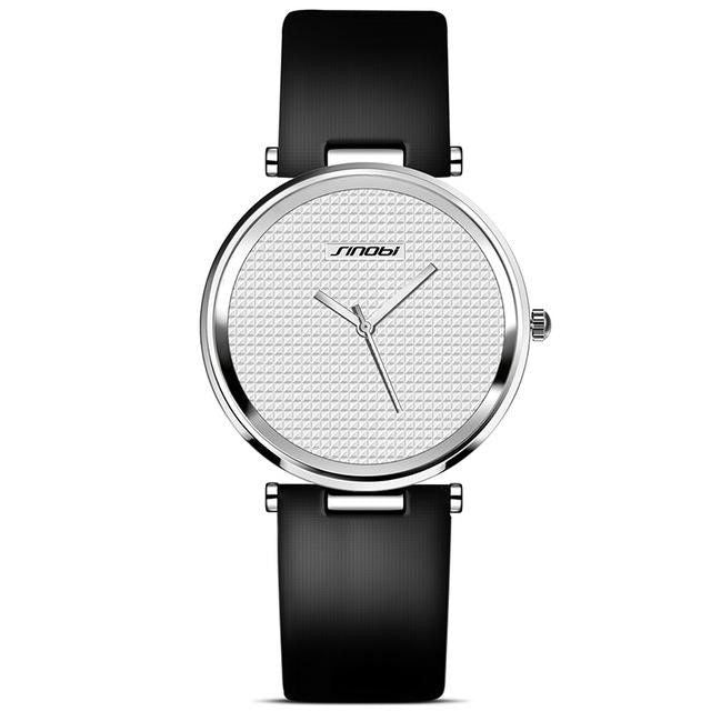 Women SINOBI Fashion Ultra Thin Leather Quartz Dress Watch