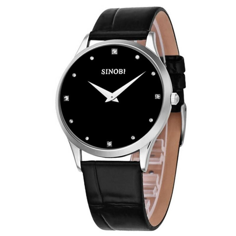 Women SINOBO Luxury Leather Strap Watch