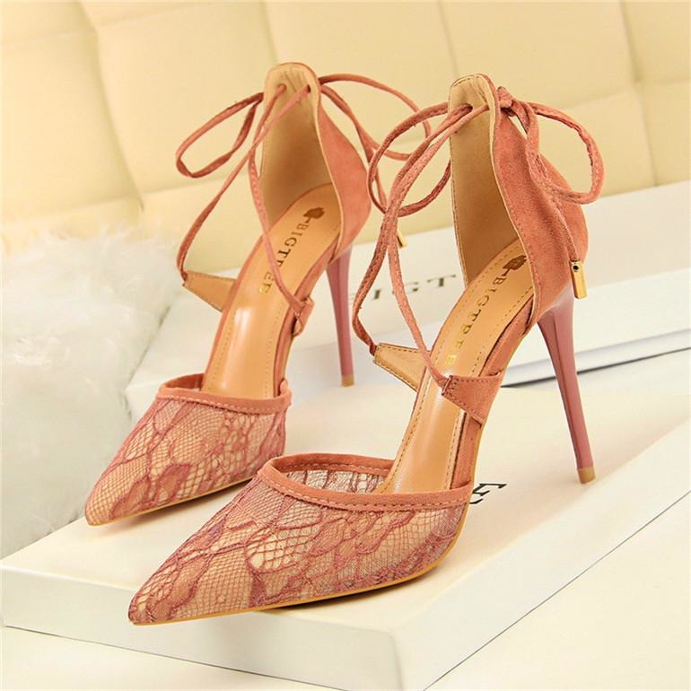 Women Floral Lace Mesh Heel Shoes