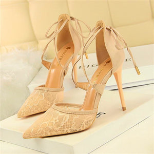 Women Floral Lace Mesh Pointed Toe Cross-tied High Heels Shoes