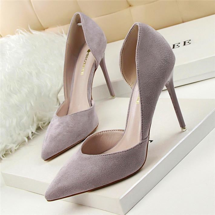 Women Side Cut-Outs Office Solid Flock Pointed Toe High Heels Shoes