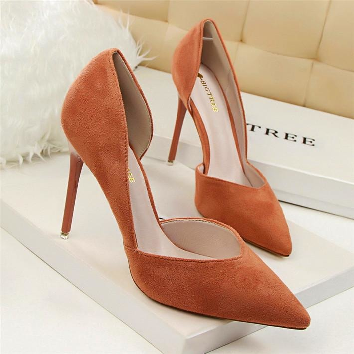 Women Side Cut Out High Heel Shoes - FashionzR4U