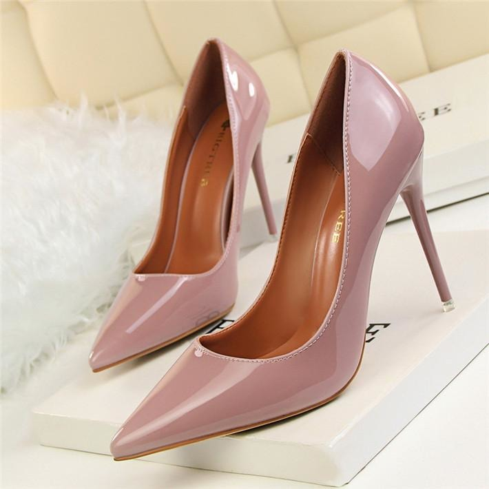 Women Thin Heel Patent Leather Pointed Toe High Heels Shoes