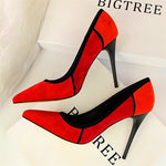 Women Mixed Colors Flock Thin High Heels Shoes