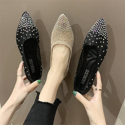 Women Soft Soled Mesh Rhinestone Flat Shoes - FashionzR4U