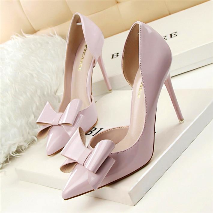 Women Shallow Bow Tie Pointed Toe Shoes - FashionzR4U