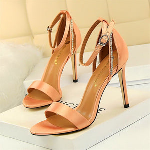 Women Crystal Peep Toe Buckle Shoes