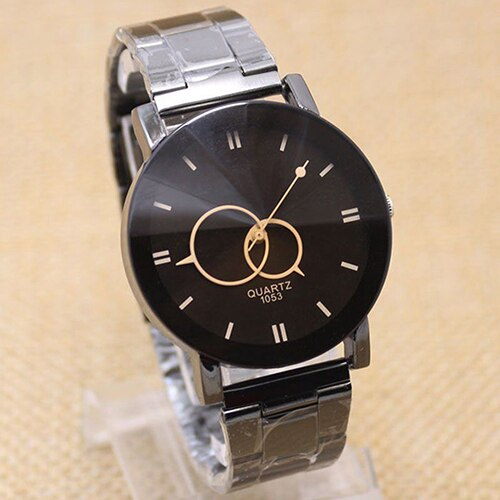 Men's Fashion Black Alloy Band Round Dial Quartz Student Gift Couple Watch