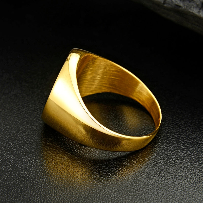 Valily Jewelry Compass Ring Gold Stainless Steel For Men Women