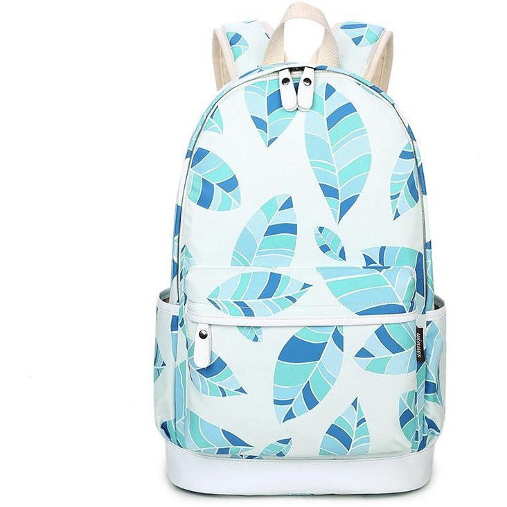 Women Green Leaves Prints Canvas Backpacks - FashionzR4U