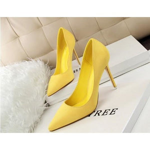 Women Korean Concise Pointed Toe Flock Shallow High Heels Shoes