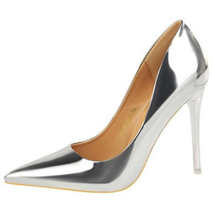 Women Gloss Leather Thin Heel Shoes