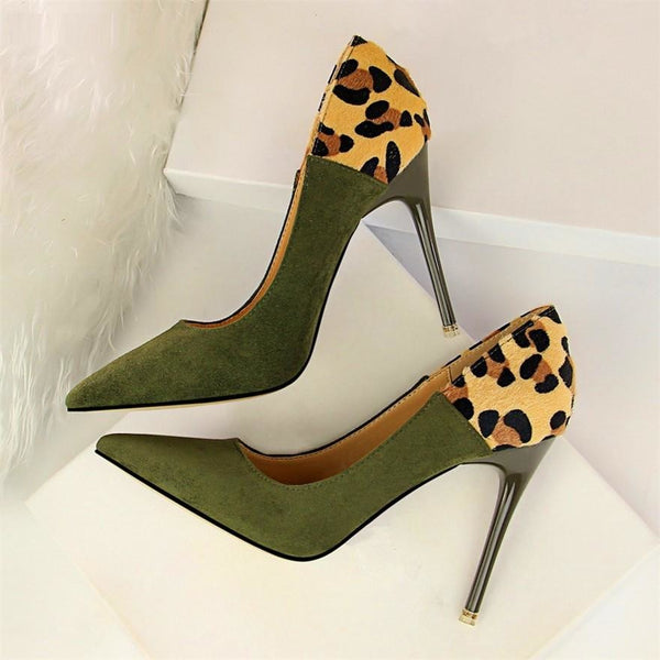 Women Leopard Spliced Thin Heel Shoes - FashionzR4U