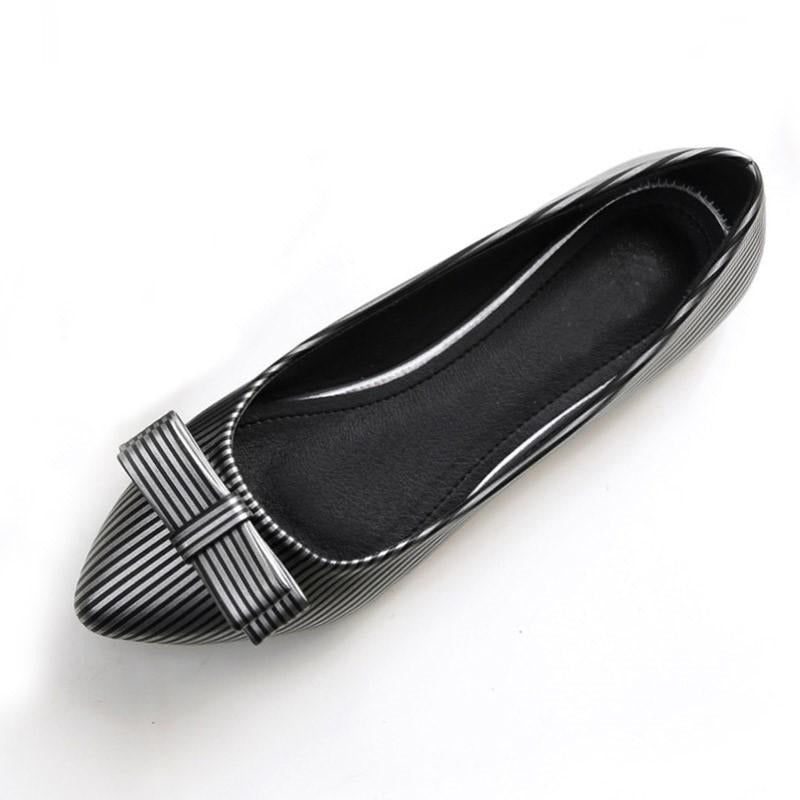 Women Strips Bow Tie Top Flat Shoes - FashionzR4U