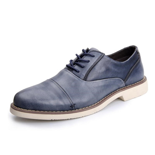 Men Lace-up Casual Dress Leather Shoes - FashionzR4U