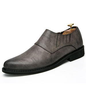 Men Business Causal Soft Bottom Slip On Leather Shoes - FashionzR4U