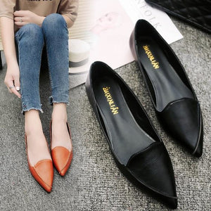 Women Ballet Shallow Slip On Fashion Pointed Toe Flat Shoes - FashionzR4U
