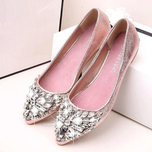 Women Spring Summer Rhinestone Casual Low Heel Flat Shoes - FashionzR4U