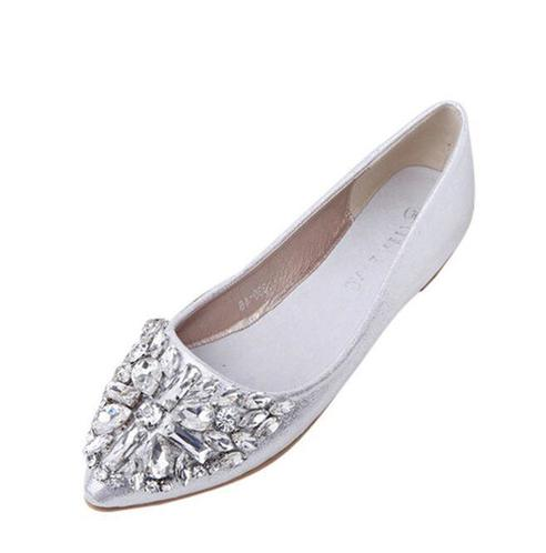 Women Spring Summer Rhinestone Casual Low Heel Flat Shoes