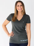 Women's Short Sleeve V-Neck -Slate - Inspiring Shirts by Thomas Scott