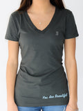 Women's Short Sleeve V-Neck -Slate - Motivational Shirts by Thomas Scott