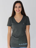 Women's Short Sleeve V-Neck -Slate - Motivating Shirts by Thomas Scott