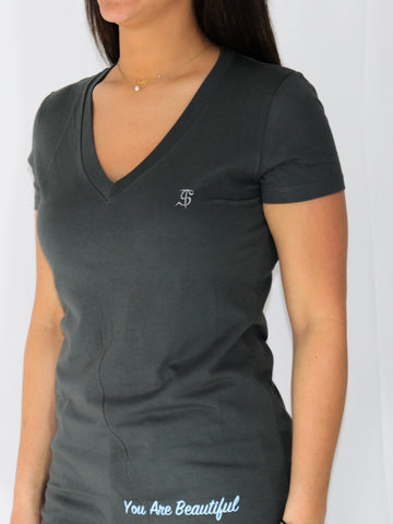 Women's Inspirational Short Sleeve V-Neck -Slate