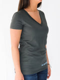 Women's Short Sleeve V-Neck -Slate - Meaningful Shirts by Thomas Scott