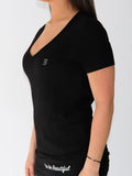 Women's Short Sleeve V-Neck -Black - Inspiring Shirts by Thomas Scott