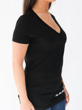 Women's Short Sleeve V-Neck -Black - Motivating Shirts by Thomas Scott